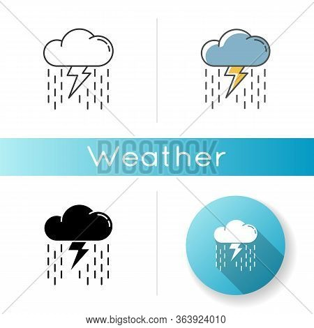 Heavy Showers Icon. Linear Black And Rgb Color Styles. Weather Prediction, Meteo Forecast. Strong Ra