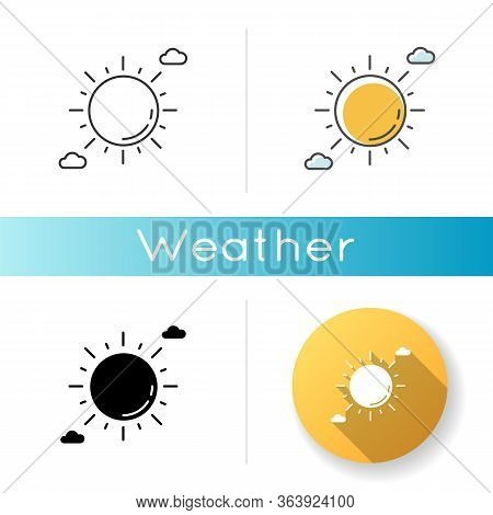 Clear Sunny Sky Icon. Linear Black And Rgb Color Styles. Partly Cloudy Meteo Forecast, Summertime We