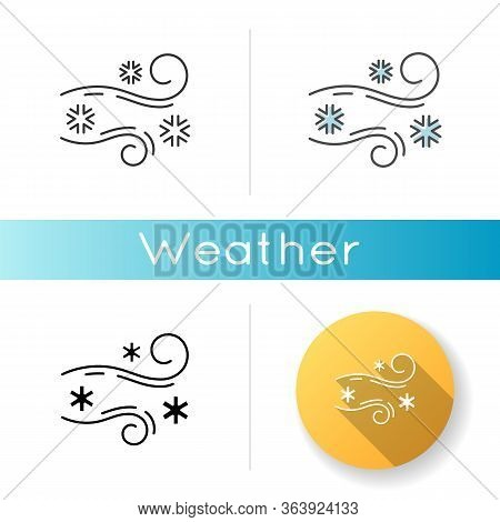 Blowing Snow Icon. Linear Black And Rgb Color Styles. Windy Weather, Meteorological Forecast. Strong