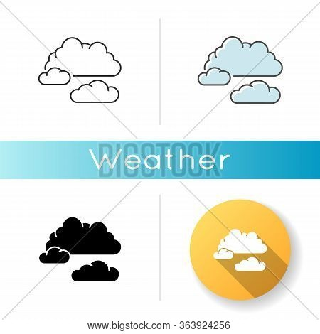 Cloudy Weather Icon. Linear Black And Rgb Color Styles. Overcast, Moody Sky, Meteo Forecasting. Atmo