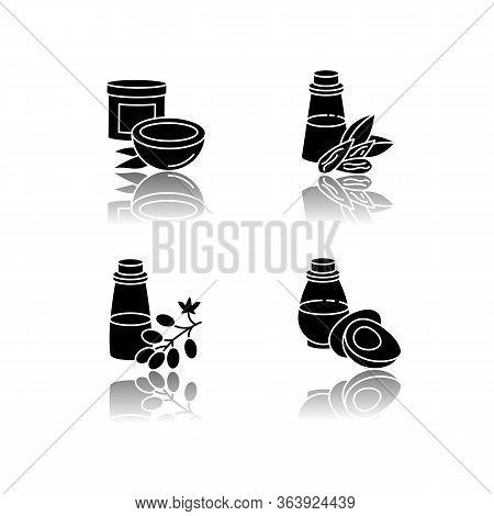 Hair Oils Drop Shadow Black Glyph Icons Set. Jojoba Essence For Healthy Nourishment. Keratin Formula