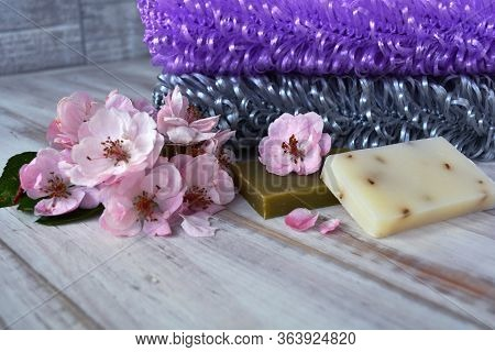 Bath, Bathhouse, And Spa Accessories: Handmade Washcloths Lilac And Gray Colors, Soap And Apple Tree