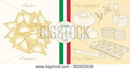 Italian Food Pasta With Filling Ravioli Pansotti, Sketching Illustration In The Vintage Style