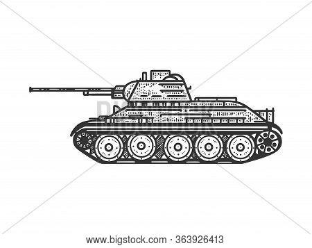 T-34 Soviet Medium Tank Sketch Engraving Vector Illustration. T-shirt Apparel Print Design. Scratch