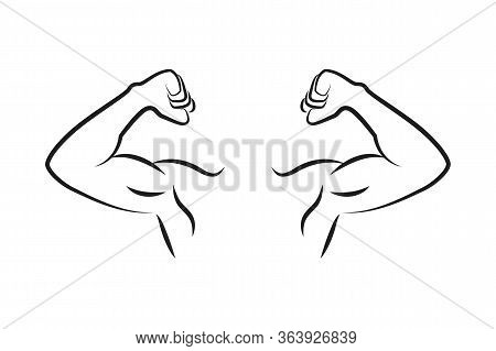 Muscular Strong Man Outline Isolated On White Background Vector Illustration Eps10