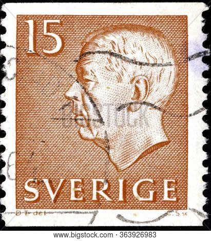 02 11 2020 Divnoe Stavropol Territory Russia The Postage Stamp Sweden 1961 King Gustaf Vi Adolf Of S