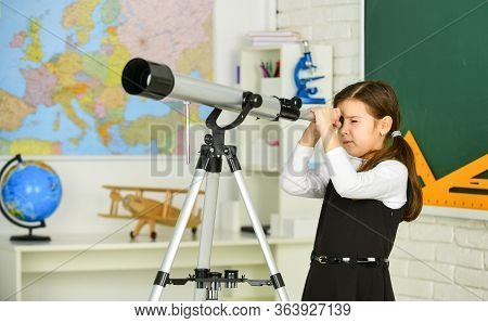 Astronomy And Astrophysics. Stars And Galaxies. Study Telescope. School Astronomy Lesson. School Gir