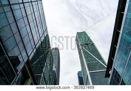 Looking Up At Corporate Glass Skyscrapers In San Francisco California Financial Downtown District Of