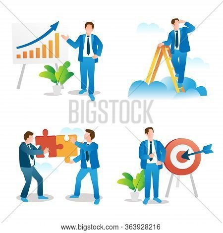 Business Presentation, Leadership Vision, Teamwork And Goal Setting Concepts Collection. Spot Vector