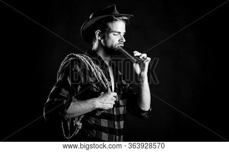 Whiskey Drinking. Vintage Style Man. Wild West Retro Cowboy. Cowboy With Lasso Rope. Western. Wester