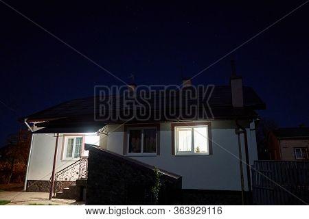 House At Night Glowing Dawn, Moon And Dawn Shine At Night At Home