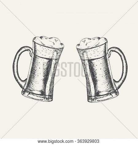 Glass Mugs With Beer And Beer Foam Overflowing Over The Edge Isolated On White Background. Hand Draw
