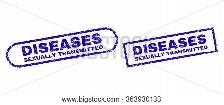 Blue Rectangle And Rounded Diseases Sexually Transmitted Watermark. Flat Vector Scratched Stamps Wit