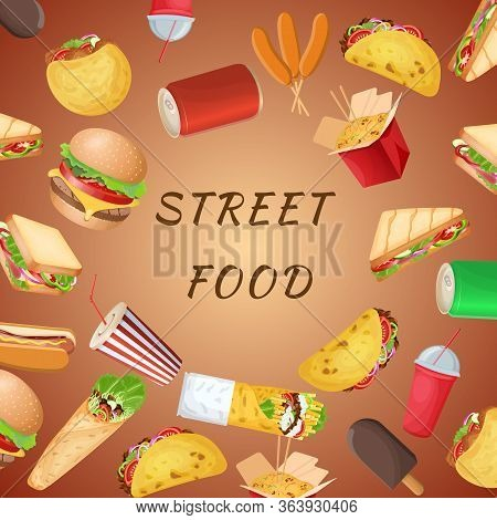 A Set Of Varied Street Food And Fast Food On A Brown Background. Graphic Design Elements For Menu, P