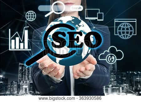 Man Demonstrating Directions Of Seo. Icons Of Keyword Research, Customization And Others