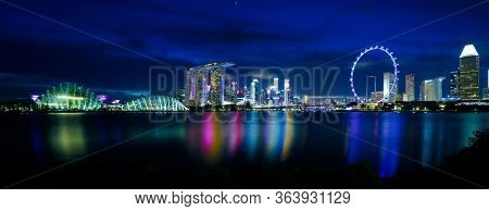 Singapore city skyline by night