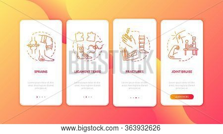Limb Traumatism Onboarding Mobile App Page Screen With Concepts. Bone And Cartilage Fractures Walkth