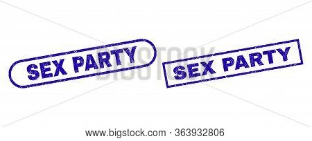 Blue Rectangle And Rounded Sex Party Seal Stamp. Flat Vector Distress Seal Stamps With Sex Party Mes
