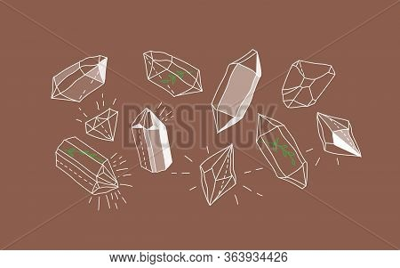 Crystal Gems. Magic Crystal Concept. Modern Vector Illustration. Transparent Line Art Gems. Tree Bra