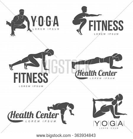Workout Logo. Fitness, Aerobic And Workout Exercise In Gym. Vector Set Of Workout Logo Isolated On W