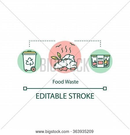 Food Waste Concept Icon. Waste Management, Food Spoilage Idea Thin Line Illustration. Recycling, Lef