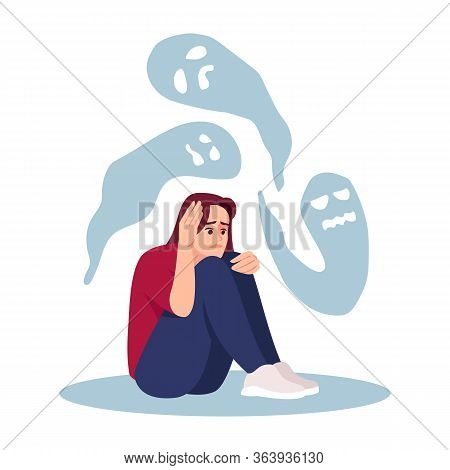 Girl With Mental Disorder Semi Flat Rgb Color Vector Illustration. Stressed Woman Haunted By Ghosts