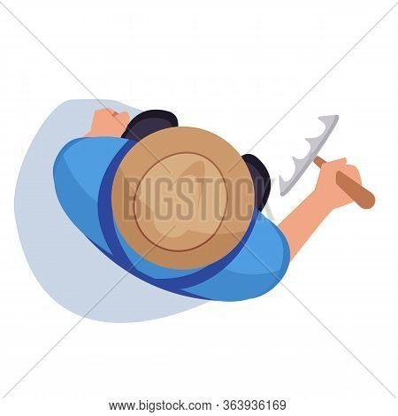 Farmer With Rake Semi Flat Rgb Color Vector Illustration. Man Stand On Field. Male Worker With Instr