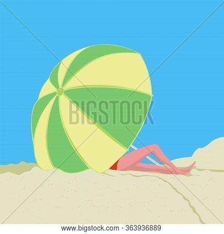 Woman On The Beach Under Umbrella. Summer. Ocean.