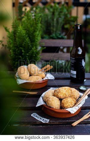Traditional Spanish Tapas, Croquettes, Croquetas With Jamon Ham
