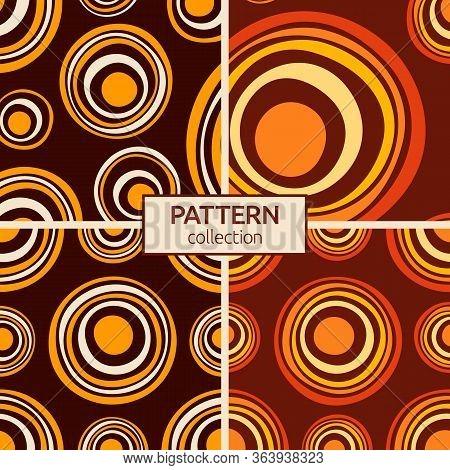 Set Of Four Abstract Asymmetrical Circles Seamless Pattern. Australian Aboriginal Ornament. Aborigin