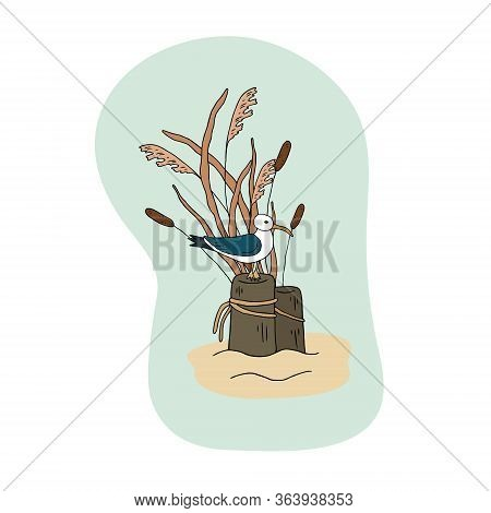 Vector Illustration With The Image Of Seagulls On A Tree, Reeds, Sand, On A Blue Background. Design