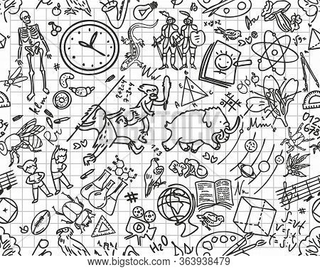 Back To School Seamless Pattern With Hand-drawn Doodles. Sketch Background Element Vector Illustrati