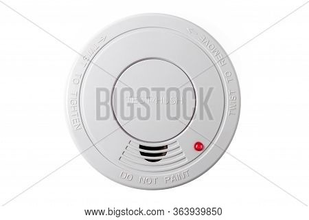 Smoke Detector Isolated On A White Background. Stay Home Safe. Home Control And Security.  Smoke Det