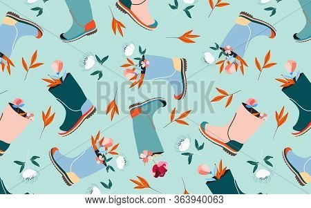 Flowers In Wellies Pattern. Soft Aqua Blue Pastel Colour Seamless Pattern Design. Spring Mood And Ea