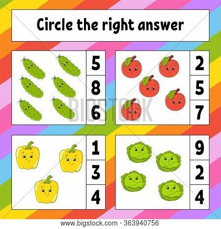 Circle The Right Answer. Education Developing Worksheet. Activity Page With Pictures. Fruits And Veg