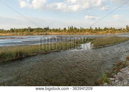 Chu River, Border Between Kazakhstan And Kyrgyzstan.