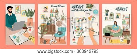 Stay At Home. People Stay In Cozy House. Vector Illustrations