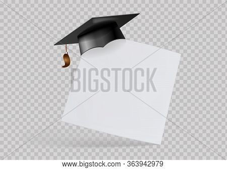 Graduation Cap Or Mortar Board On Paper Corner. Vector