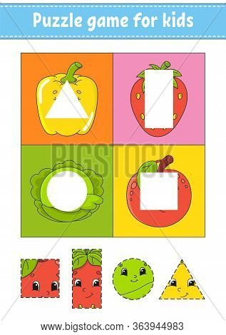 Puzzle Game For Kids. Cutting Practice. Fruits And Vegetables. Education Developing Worksheet. Activ