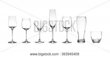 Set Of Different Empty Glasses On White Background. Banner Design