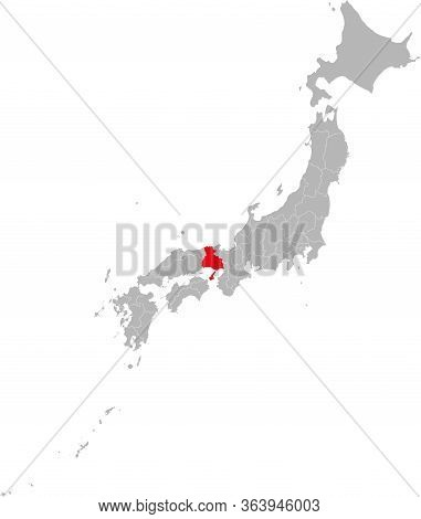 Hyogo Province Highlighted Red On Japan Map. Gray Background. Business Concepts And Backgrounds.
