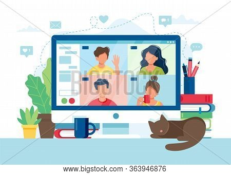 Computer With Group Of People Doing Video Conference. Online Meeting Via Group Call. Vector Illustra
