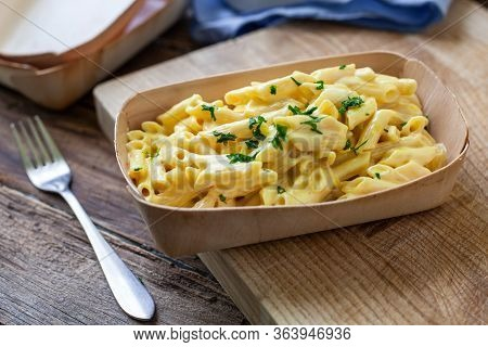 Handmade Italian Macaroni With Cheese On Bowl