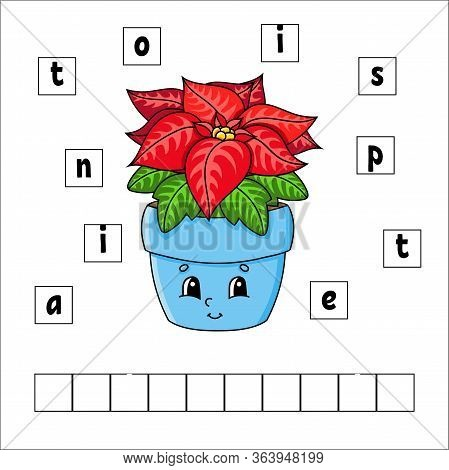 Words Puzzle. Poinsettia. Education Developing Worksheet. Learning Game For Kids. Activity Page. Puz