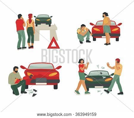 Car Repair And Insurance, Roadside Assistance Or Towing Service Set With People.