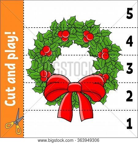 Learning Numbers 1-5. Cut And Play. Christmas Wreath. Education Worksheet. Game For Kids. Color Acti