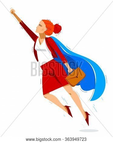 Businesswoman Superhero Flying Up Powerful Vector Illustration, Brave And Powerful Hero Woman In Bus