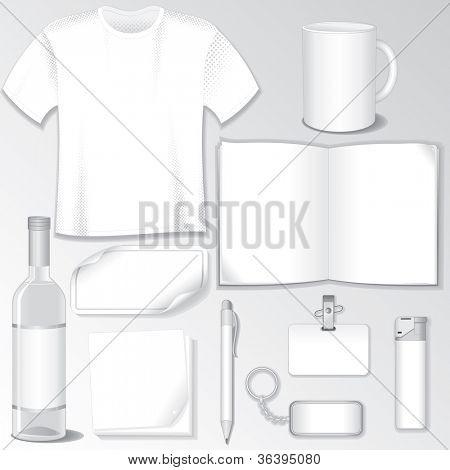 Blank Design Templates for your Presentation or Logos. White Vector Wine Bottle, T-Shirt, Mug, Brochure, Badge, Pen, Sticker...