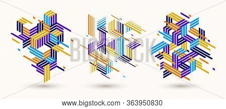 Linear Striped Abstract Vector Dimensional 3d Backgrounds Set With Isolated Retro Style Graphic Elem