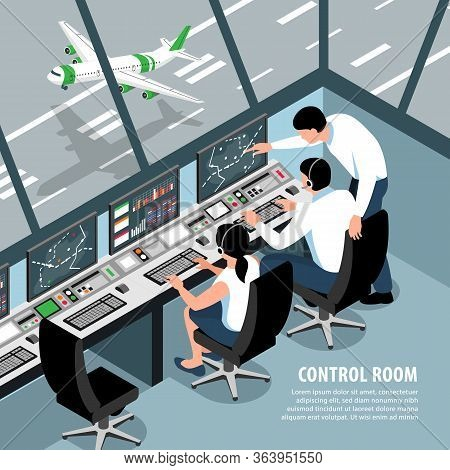 Isometric Airport Traffic Control Team Background With Indoor Scenery Aircraft Control Room Operator